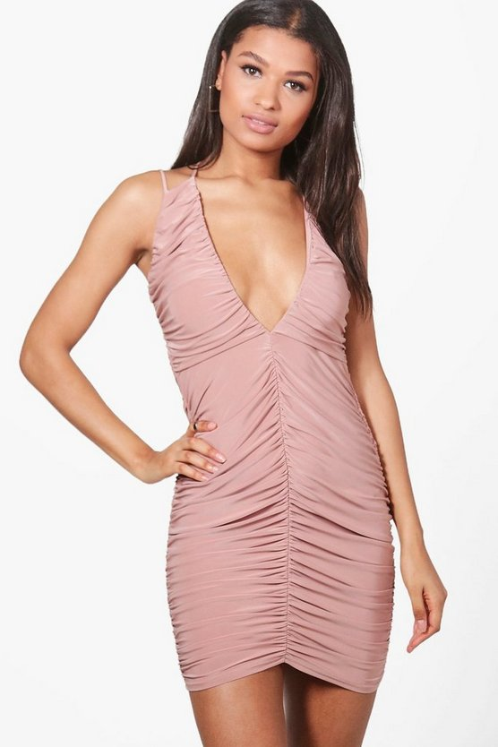 Sasia Ruching Detail Slinky Bodycon Dress