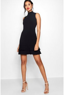 Womens Black Sleeveless Ruffle Hem Bodycon Dress