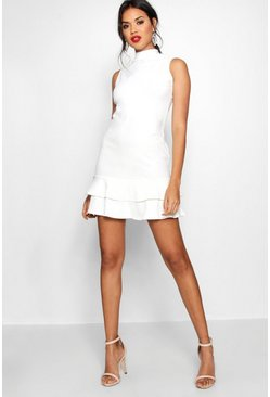 Womens Ivory Sleeveless Ruffle Hem Bodycon Dress