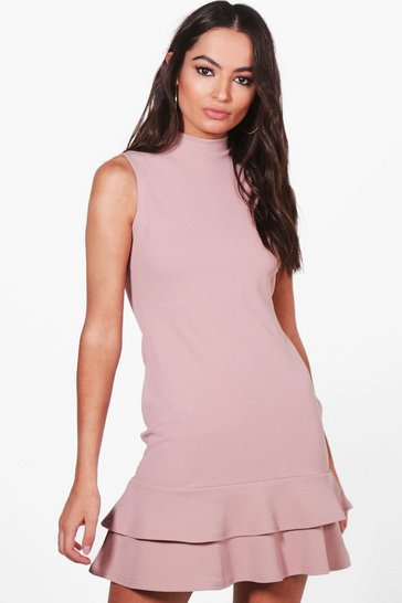 Womens Mink Sleeveless Ruffle Hem Bodycon Dress