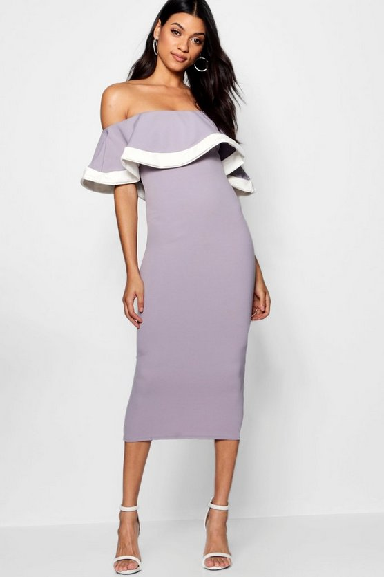 Tipping Detail Frill Bardot Midi Dress