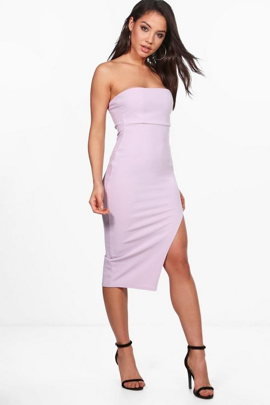 Beryl Crepe Bandeau Front Split Midi Dress