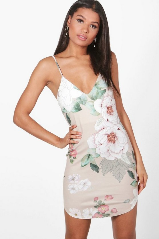 Greta Floral Curved Hem Bodycon Dress