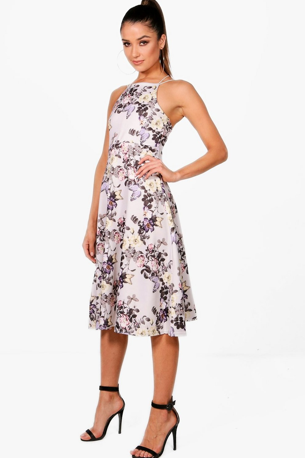 64c5ce9d0666 Rebecca Floral Strappy Midi Skater Dress | Boohoo