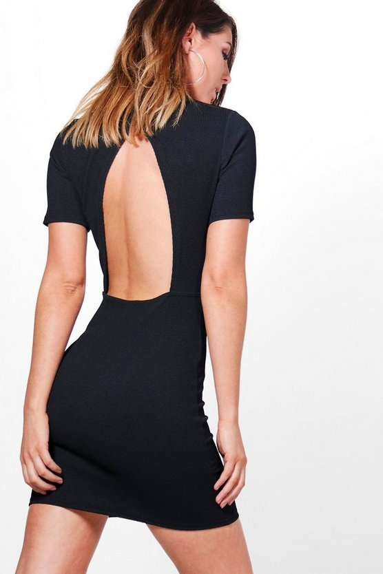 Quinn Structured Open Back Bodycon Dress