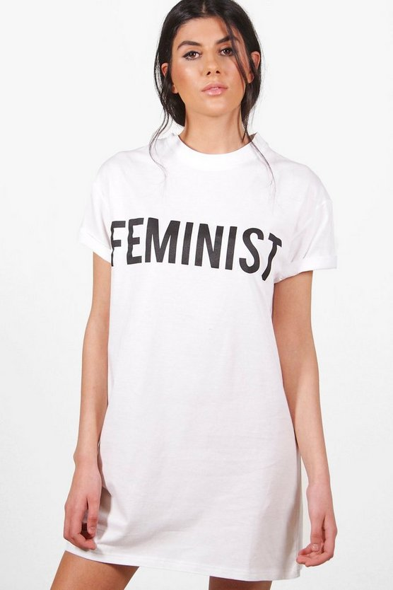 Womens White Emma Feminist Slogan T-Shirt Dress