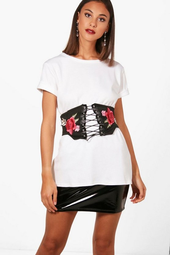 Oversized Embroidered Belt T-Shirt