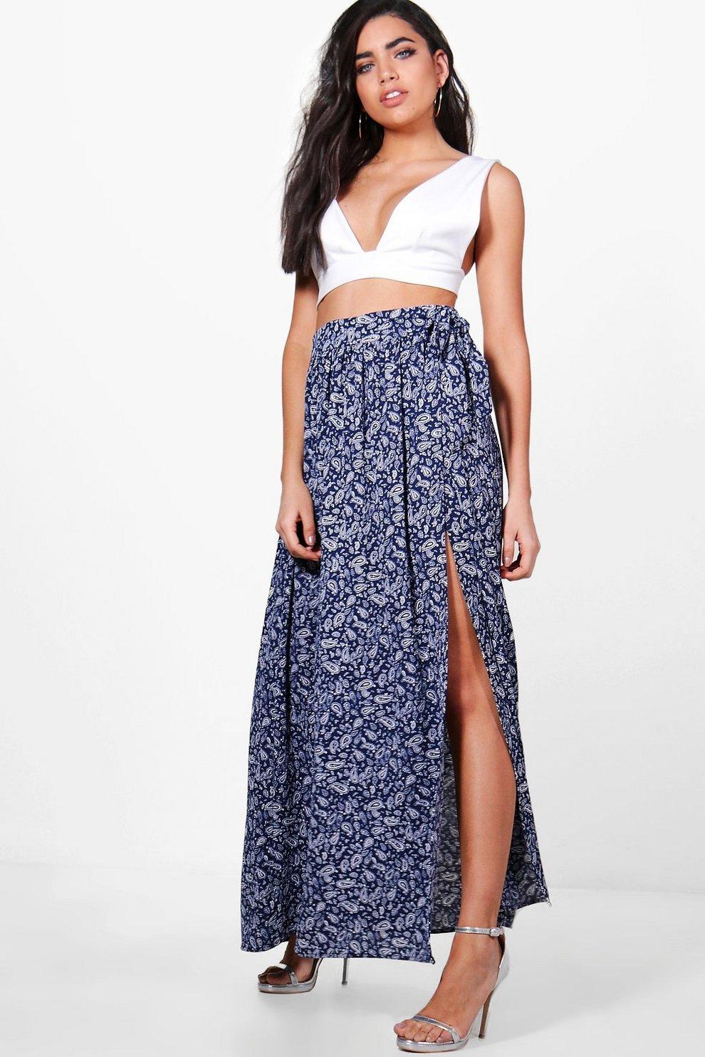 567d627d1e9a India Woven Paisley Print Wrap Maxi Skirt   Boohoo