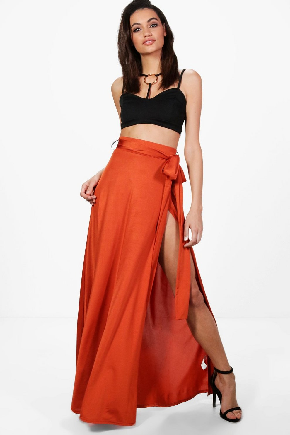f04de17162 Obi Tie Thigh Split Maxi Skirt | Boohoo