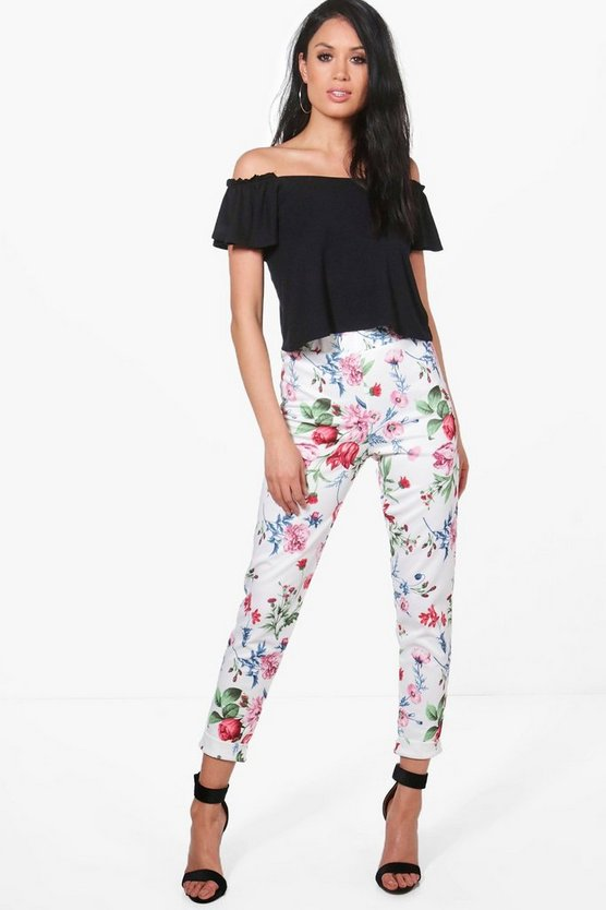Cleo Summer Floral Stretch Skinny Trousers