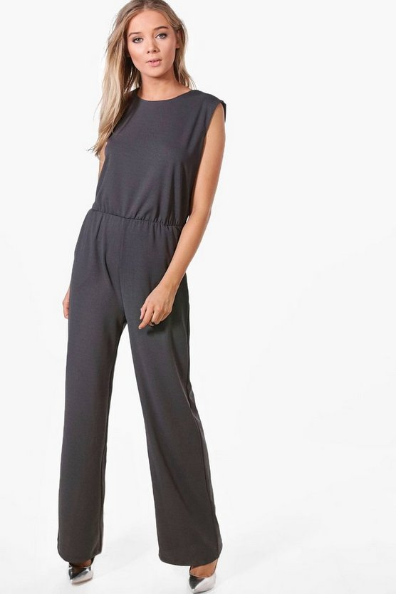 Womens Charcoal Erina Zip Shoulder Tailored Wide Leg Jumpsuit