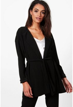 Womens Black Eloise Gathered Back Belted Duster