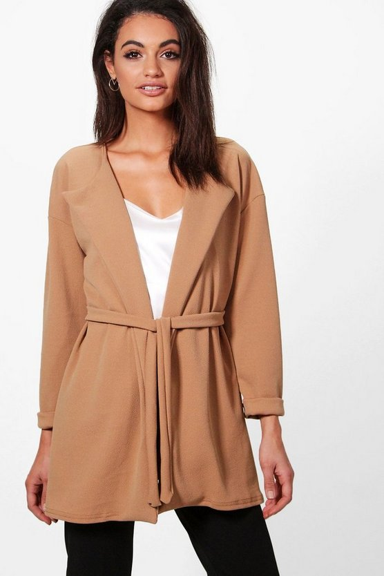 Womens Camel Eloise Gathered Back Belted Duster
