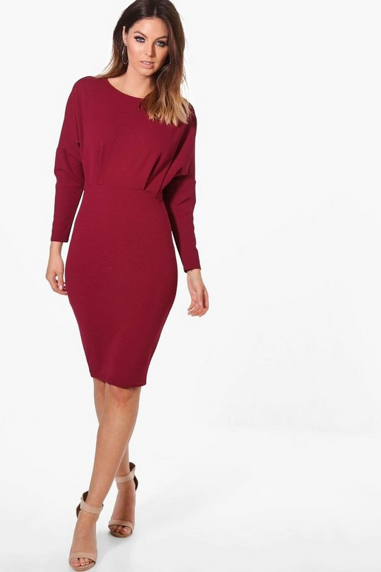 Womens Wine Jessica Batwing Midi Dress