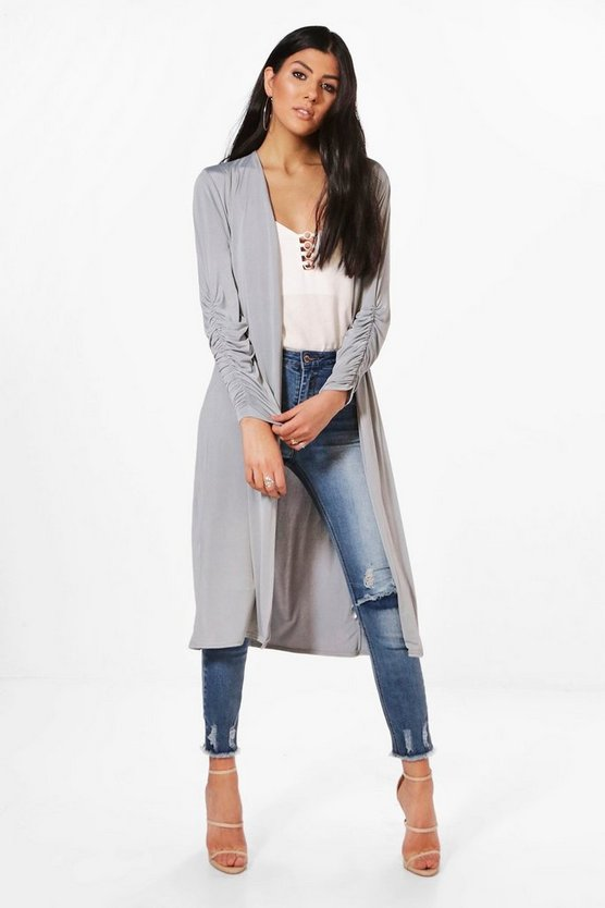 Maria Slinky Ruched Sleeve & Back Duster