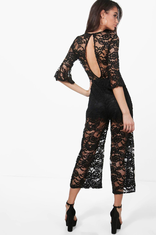 boohoo damen lottie jumpsuit aus spitze mit hosenrock ebay. Black Bedroom Furniture Sets. Home Design Ideas
