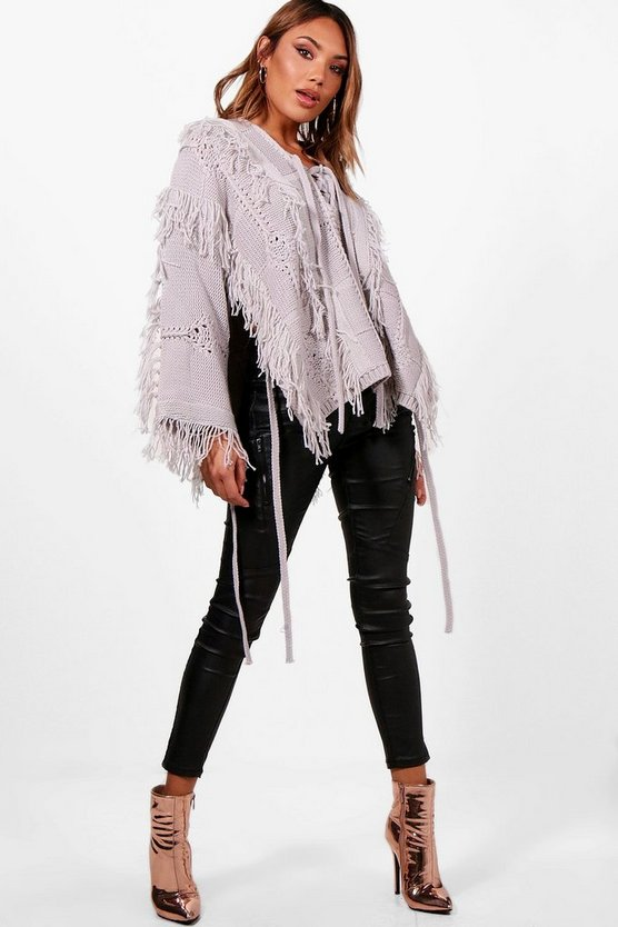 Lucy Boutique Lace Up Tassel Jumper