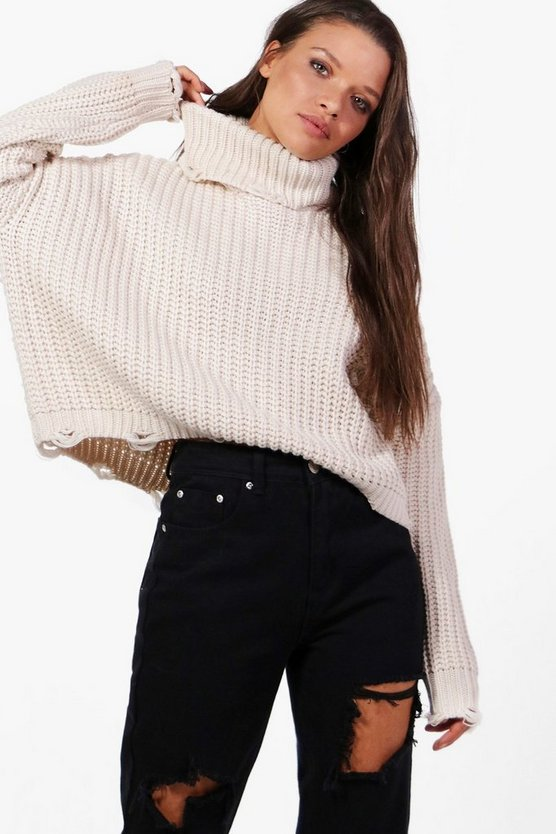 Distressed Roll Neck Oversized Jumper