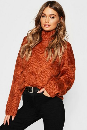 Womens Chocolate Soft Knit Cable Jumper