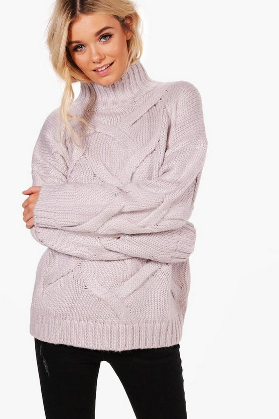 Womens Grey Soft Knit Cable Jumper