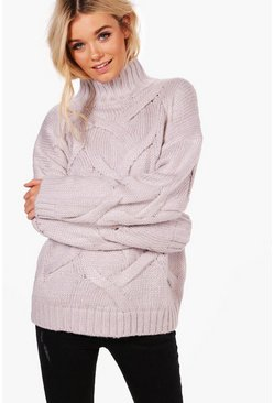 Womens Grey Soft Knit Cable Sweater