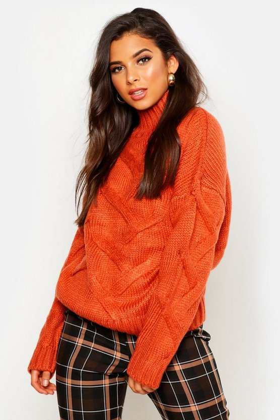 Womens Rust Soft Knit Cable Jumper