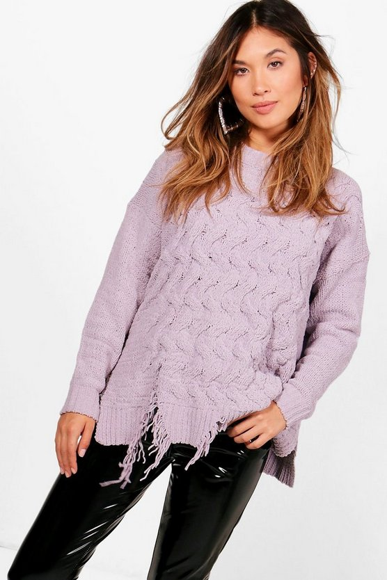 Distressed Hem Cable Chenille Jumper