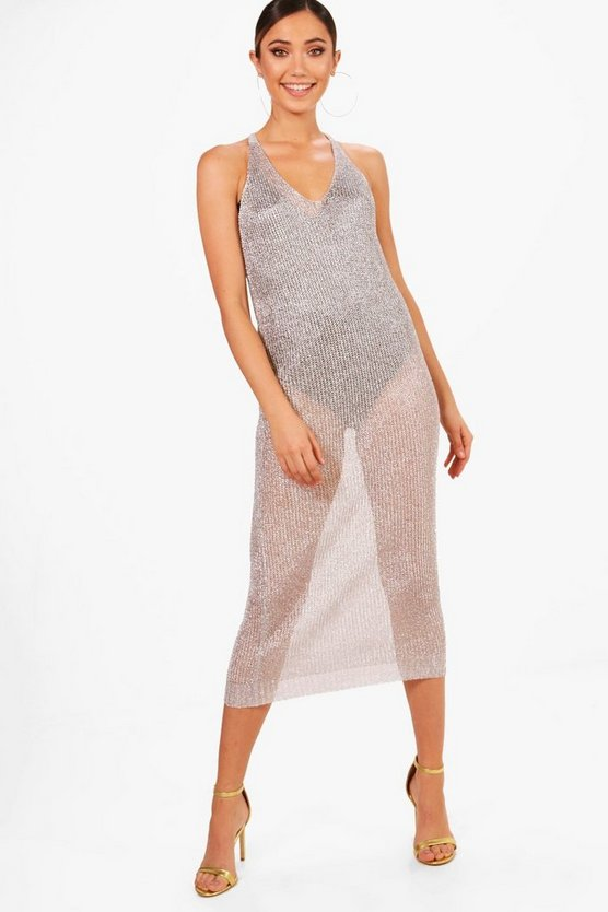 Strap Detail Metallic Knit Maxi Dress