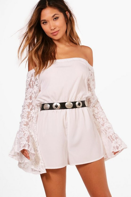 Erin Off The Shoulder Lace Flare Sleeve Playsuit