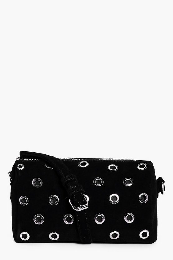 Louise Eyelet Suedette Cross Body Bag