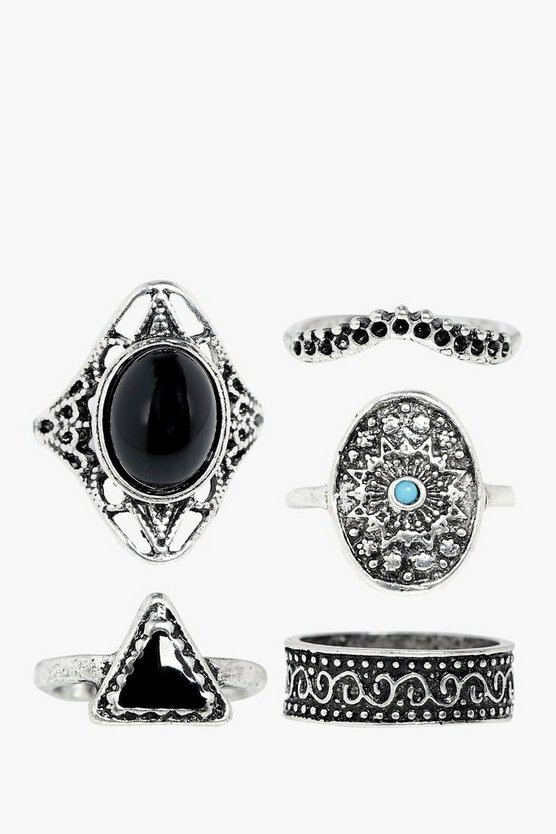 Sofia Boho Stone Ring 5 Pack