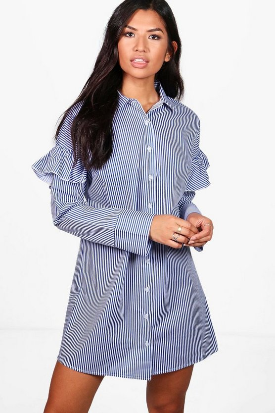 Ruffle Shoulder Stripe Shirt Dress