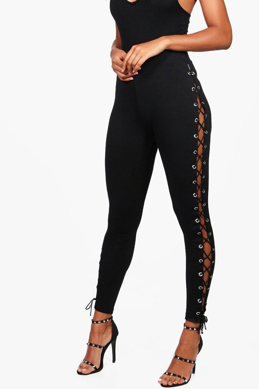 con alta cordones calidad laterales de negro Leggings wgtp15qxv