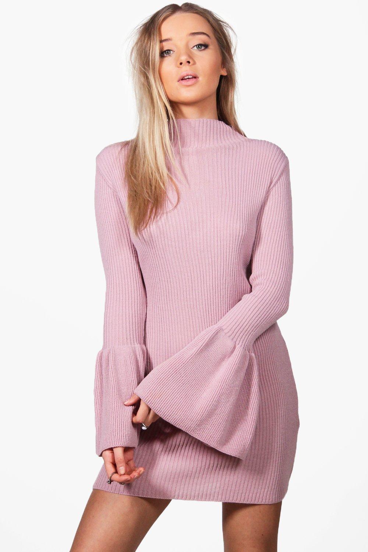 vestido estilo suéter con manga ancha melissa | Boohoo