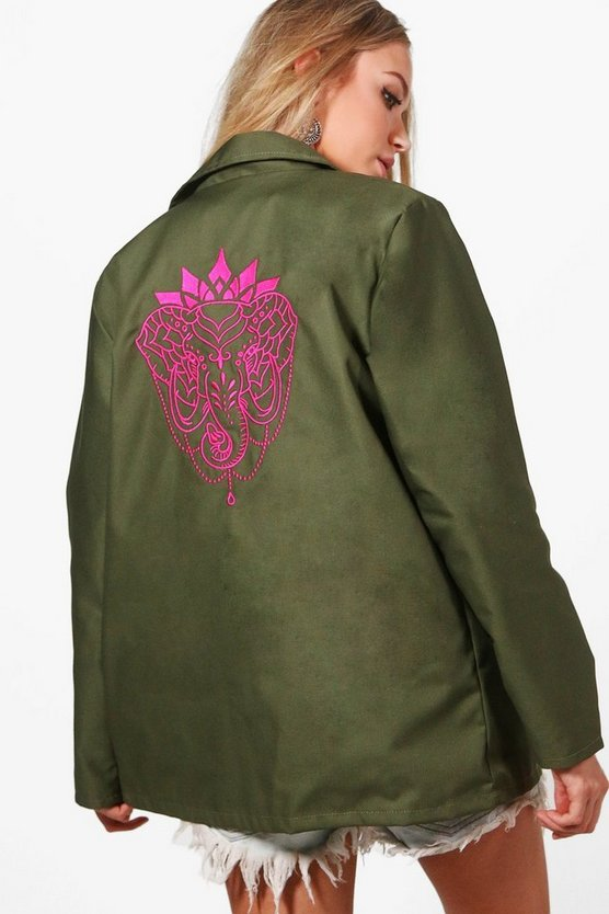 Katie Elephant Embroidered Back Festival Jacket