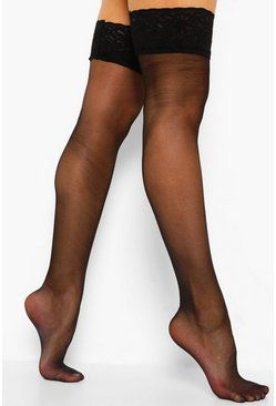Womens Black Lace Top Stockings