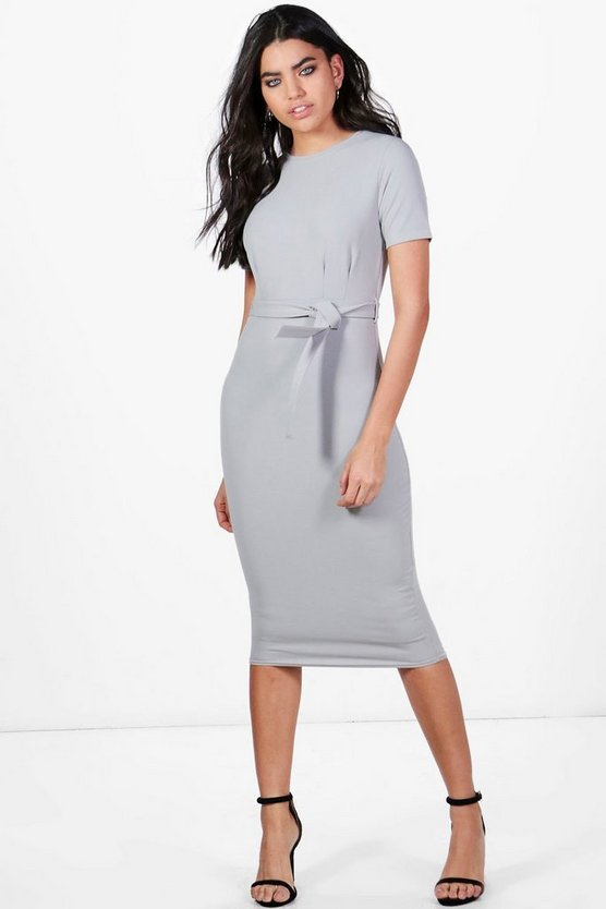 Womens Silver Pleat Front Belted Tailored Midi Dress