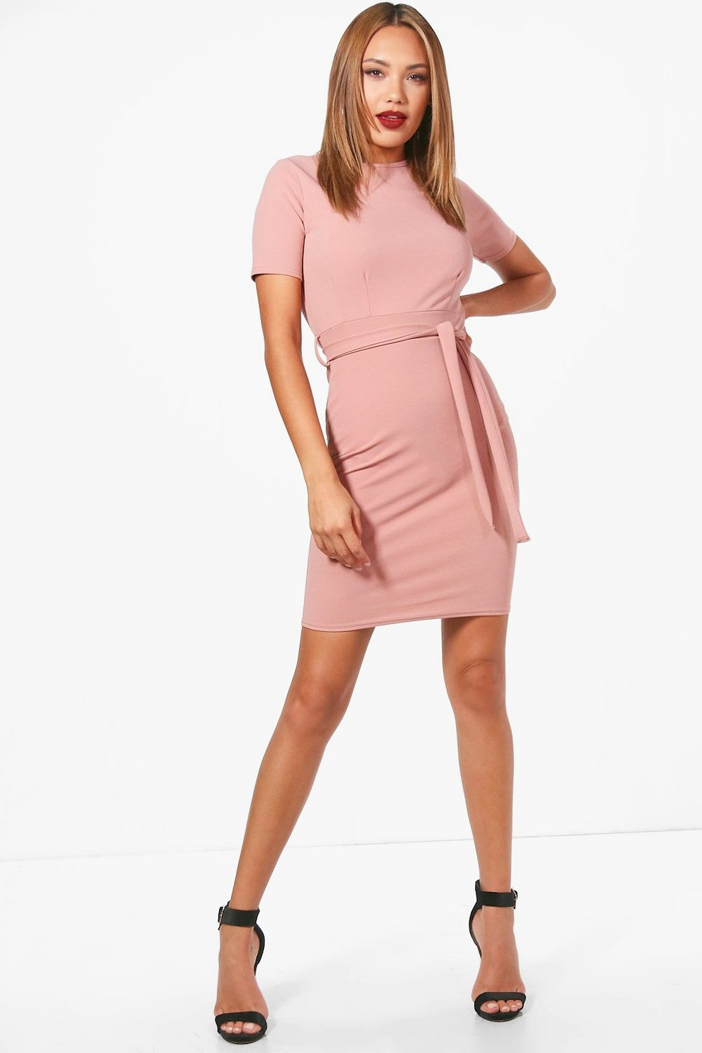 c9a93a0096cd Pleat Front Belted Tailored Dress | Boohoo