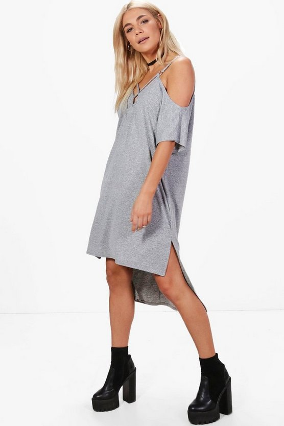 Natalie Strappy Cold Shoulder Knit Dress