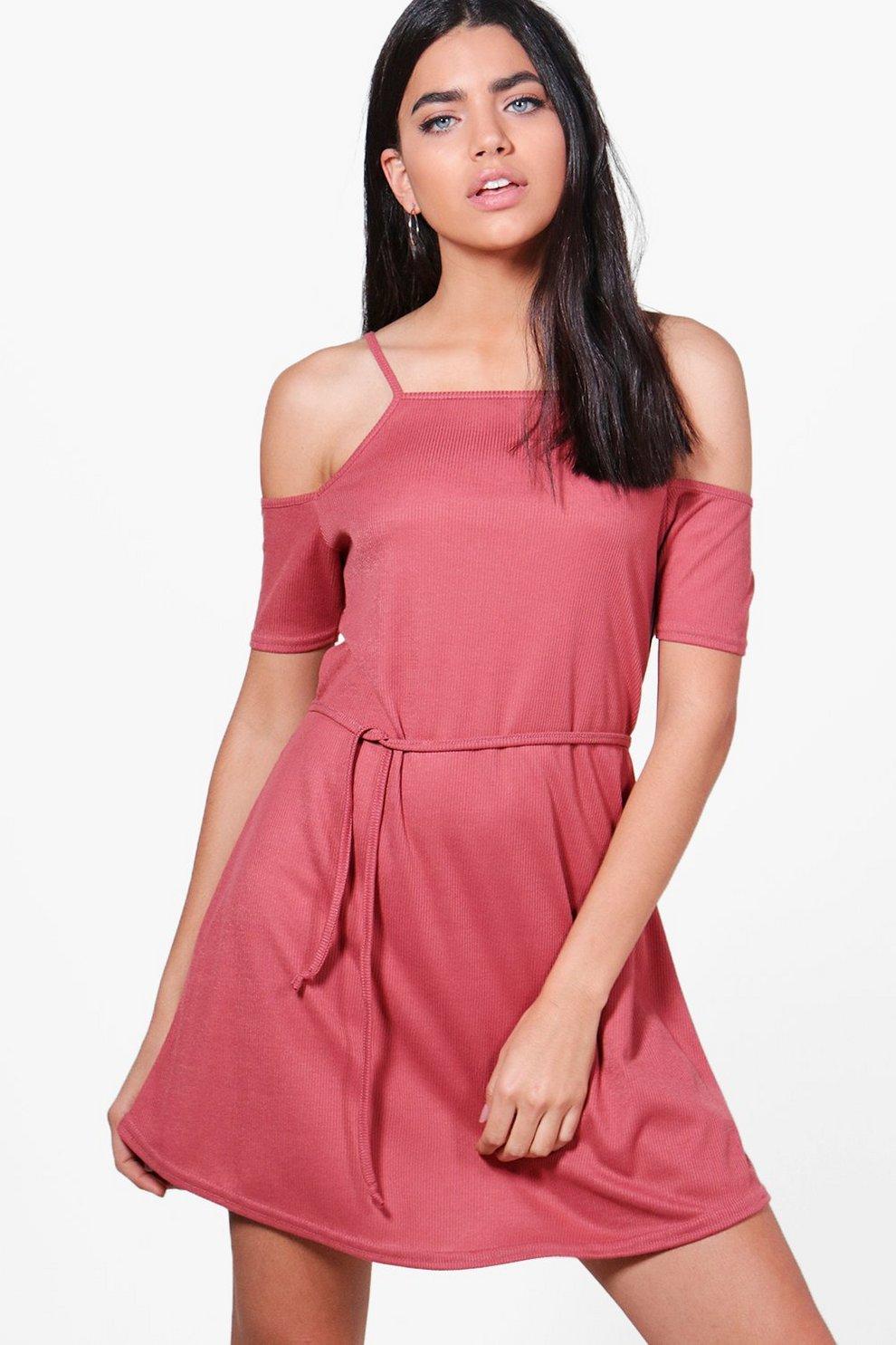 3ca157b6cd56 Poppy Cold Shoulder Rib Knit Dress
