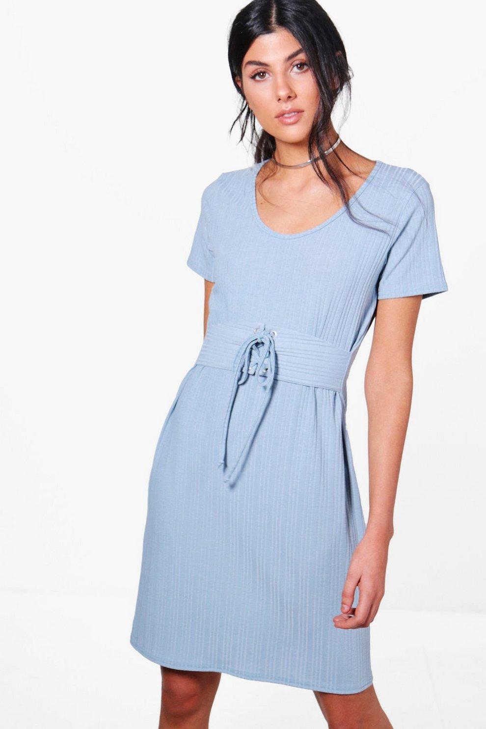 a9d2b9d8e7 Jennifer Rib Knit Corset T-Shirt Dress