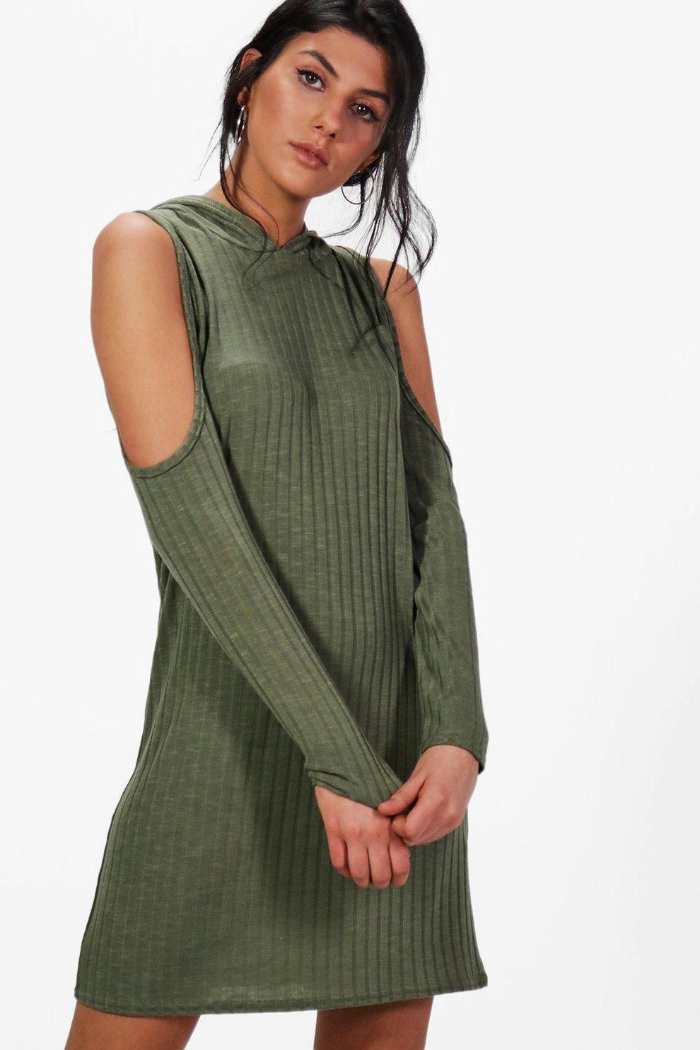 Katie Hooded Rib Knit Dress  c658666d4