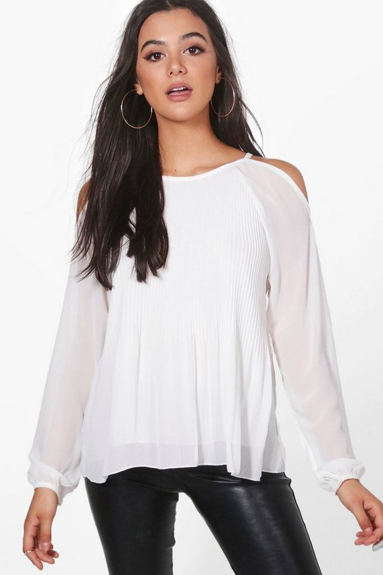 Womens Ivory Leah Pleated Woven Blouse