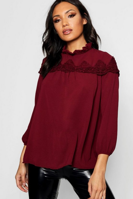 Womens Berry Lace Insert High Neck Blouse