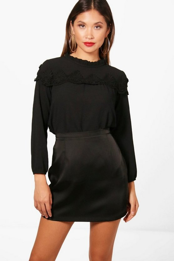 Lace Insert High Neck Blouse Lace Insert High Neck Blouse by Boohoo