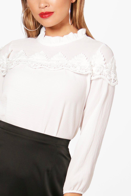 e Blusa cuello encaje negro alto con de inserciones wqCZx4atgq