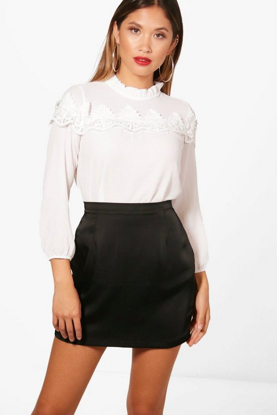 Womens Ivory Lace Insert High Neck Blouse