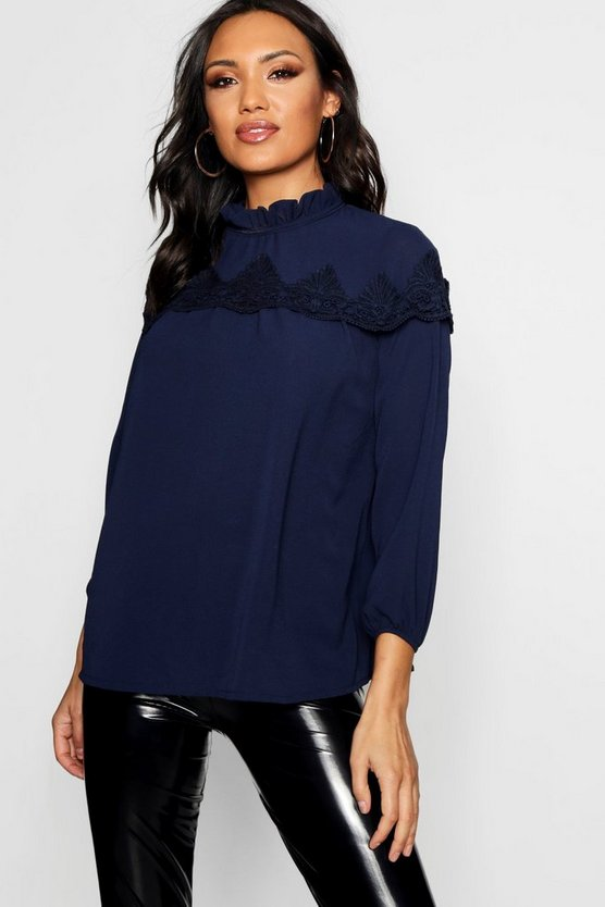 Lace Insert High Neck Blouse