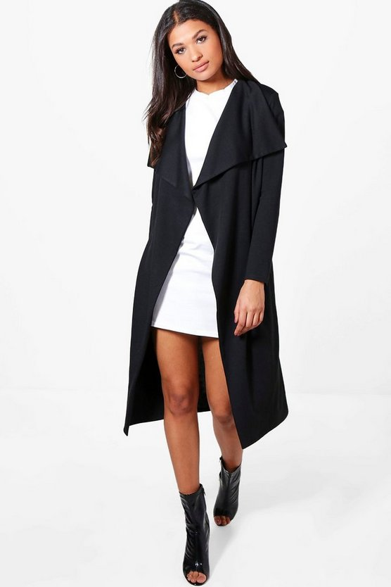 Womens Black Jenna Ponte Waterfall Belted Duster