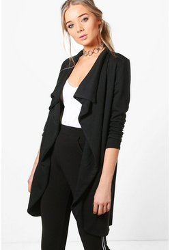 Womens Black Ponte Wrap Front Duster Jacket